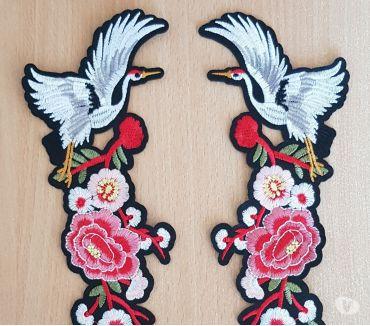 Photos Vivastreet ecusson brodé fleurs en tissu + grue japonaise 31x10 cm