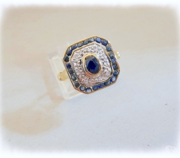 Photos Vivastreet Bague octogonale Saphirs Diamants Or 18 K (750°°°)