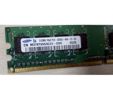Photos Vivastreet Barrette RAM SAMSUNG 512MB 1Rx8 PC2-4200U-444-12-D3 M378T655