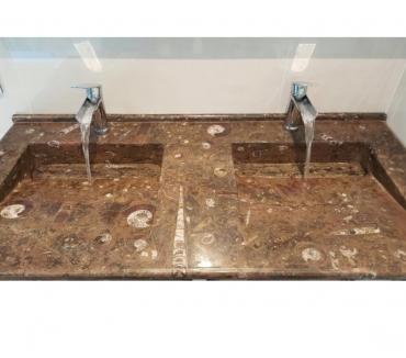 Photos Vivastreet Lavabo double vasque poli en marbre fossilisé