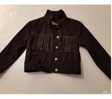Photos Vivastreet VESTE EN JEAN NOIRE A FRANGES ZARA GIRLS