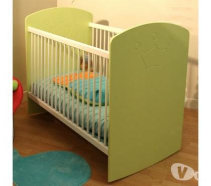 Photos Vivastreet Lit bébé barreaux bascule blanc/anis 60x120