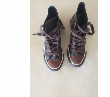 Photos Vivastreet BASKETS CONVERSE ALL STAR CUIR MARRON UNISEXE P 36,5