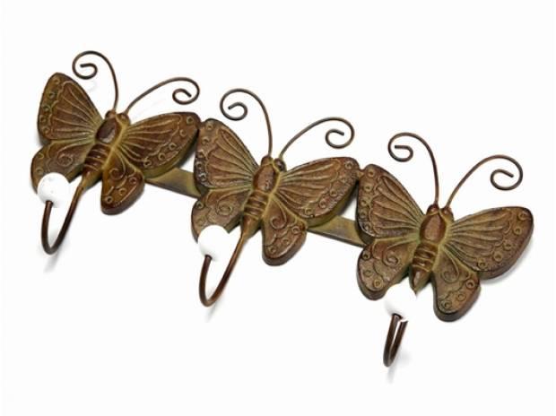 Photos Vivastreet Patere en métal marron vert trois papillons