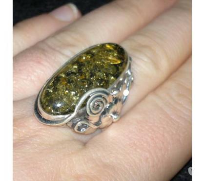 Photos Vivastreet Bague femme argent massif 925 ambre vert taille 58