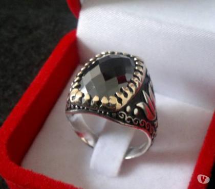 Photos Vivastreet Bague homme argent 925 diamant noir feuille