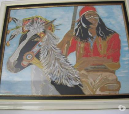 Photos Vivastreet Tableau à l'huile un indien à cheval signé Tecawikta - jpm06