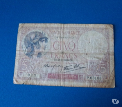 Photos Vivastreet BILLET 5 FRANCS VIOLET DU 28 SEPTEMBRE 1939
