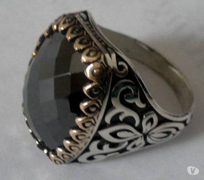 Photos Vivastreet Bague homme diamant noir argent 925 fleur taille 68 et 70