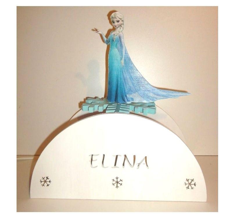 Lampe décorative la reine des neiges - Tourcoing - Lampe décorative en bois pour enfant avec la reine des neiges Cette lampe a été réalisée artisanalement par nos soins Elle est personnalisable au prénom de votre fille Une création 100% fait main Fonctionne avec une ampoule a vis E14 no - Tourcoing