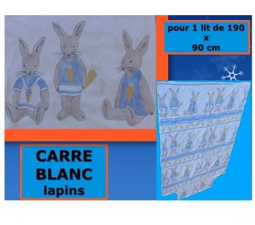 Photos Vivastreet Parure LAPIN ENFANT (lit 90 x 190 cm) carré blanc