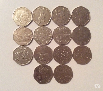 Photos for Fourteen Collectible 50p Coins.