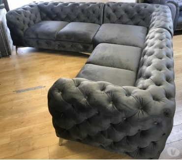 Photos for Chesterfield corner group in plush velvet colour grey