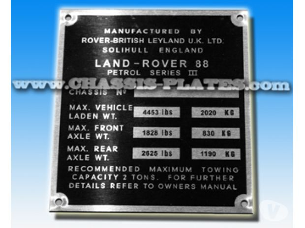 Photos #display# Vivastreet LAND ROVER SERIES 3 88 PETROL / DIESEL Chassis / VIN Plate