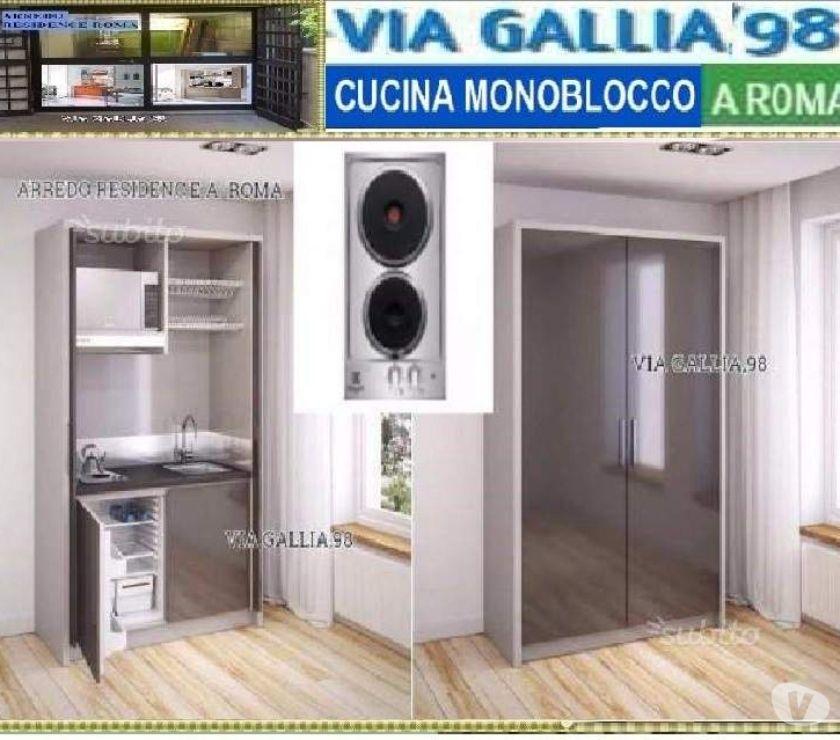 Cucina monoblocco a scomparsa 120 cm ARMADIO PC-CUCINE ROMA ...