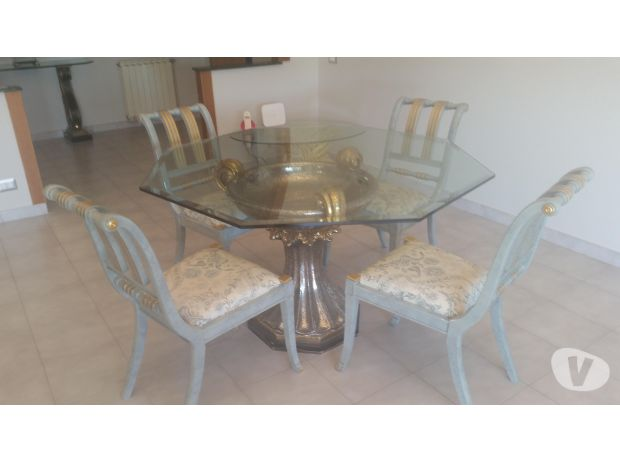 Prestigioso tavolo cristallo sedie intarsiate casa ufficio for Sedie ufficio roma