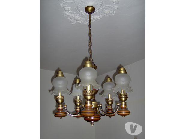 Lampadario Antico In Legno : Antico lampadario in legno dorato catawiki