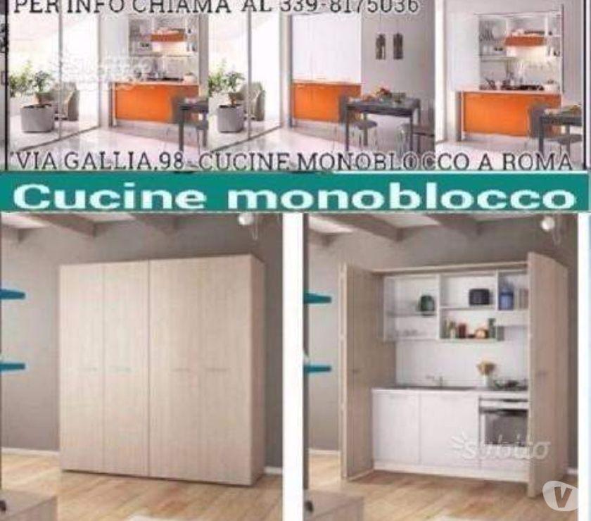 Cucina monoblocco a scomparsa L. 139,4cm 184,4cm-Cucine ROMA ...